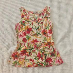JCrew floral peplum linen top